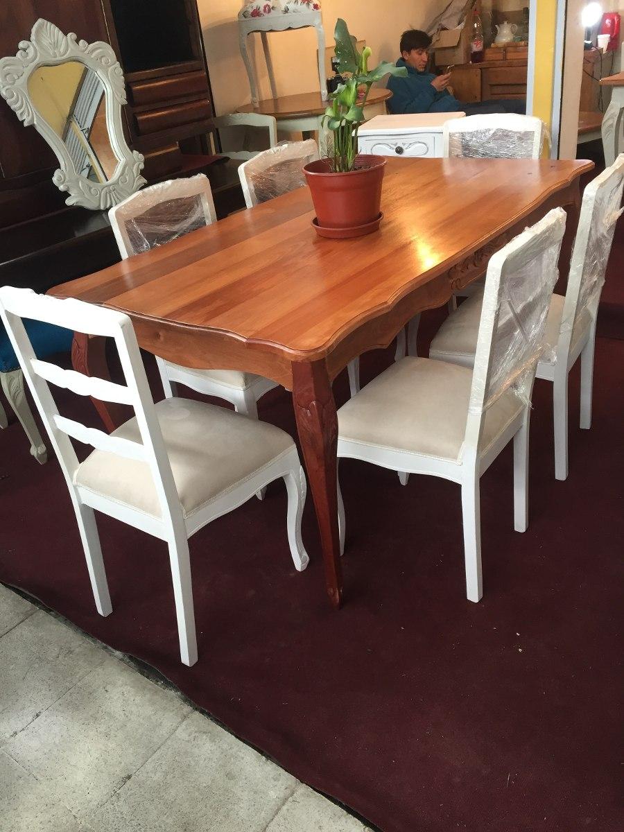 Mesa comedor estilo normando completo en rauli for Oferta comedor completo