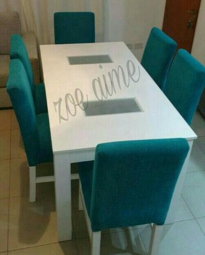 mesa comedor extensible de 1.60 a 2.00mts +6 sillas chenille