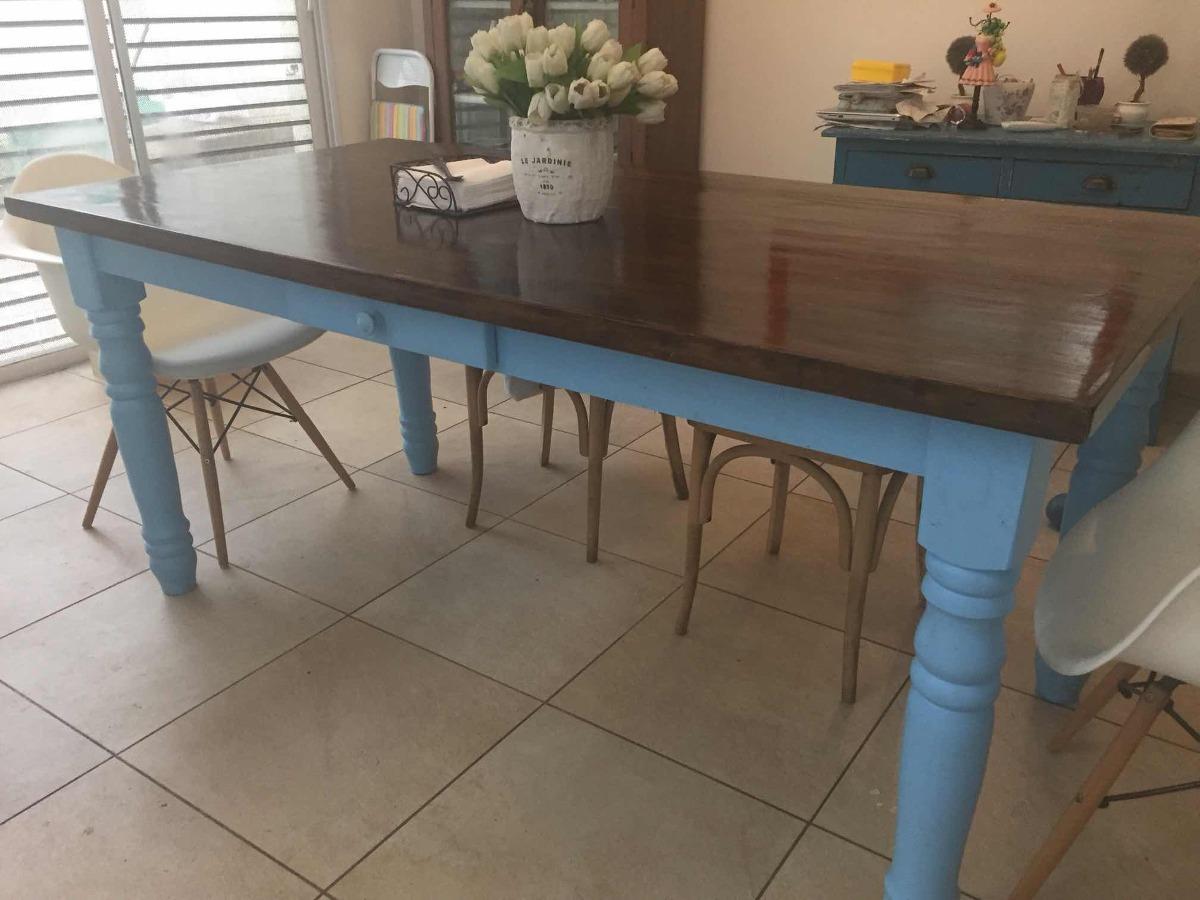 Mesa Comedor Grande Madera + Vajillero Antiguo Diseño - $ 3.500,00 ...