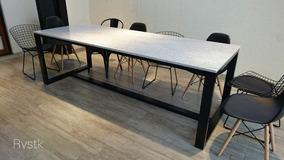 Mesa Comedor Hierro Negro Industrial Con Mármol Carrara 160x80 (15% Off  Promo En Stock!!)