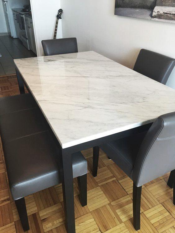 Mesa Comedor Hierro Negro O Blanco Mármol Carrara 130x70 - $ 26.900 ...