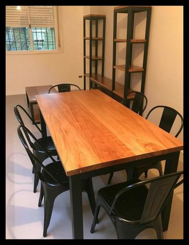 mesa comedor hierro y álamo - estilo industrial 1,40 x 0,80
