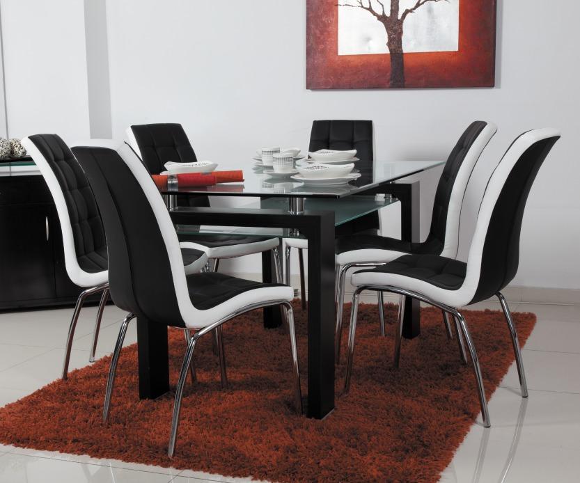 Mesa comedor importada 6 ptos vidrio templado 10mm for Comedor 6 sillas moderno