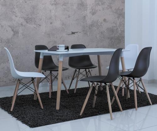 mesa comedor importado diseño moderno 6 puestos. reiva negro