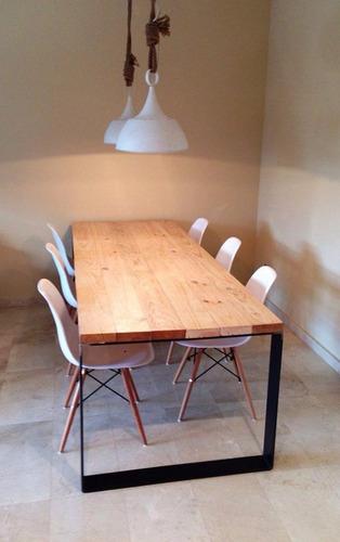 mesa comedor industria madera y hierro 1,40 mts pelikan 1