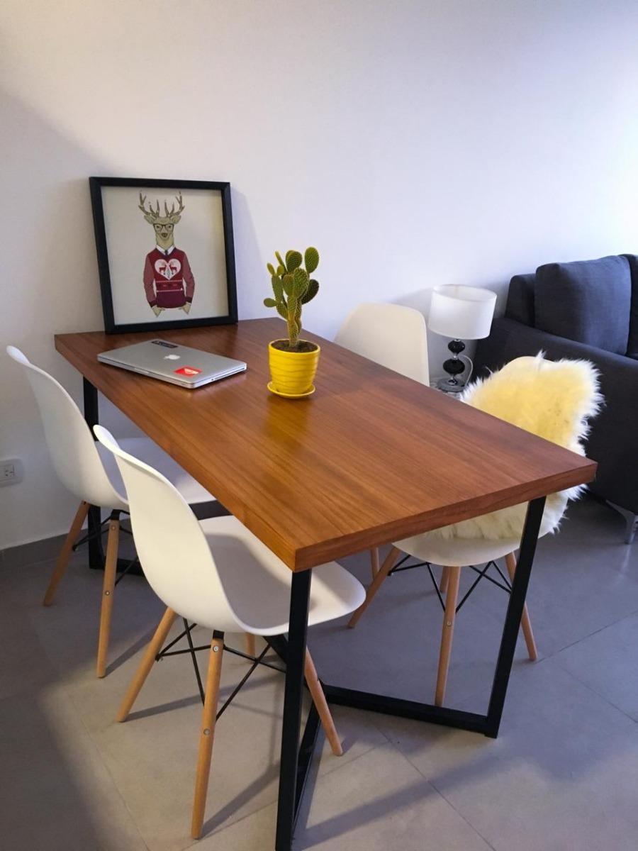 Mesa Comedor Industrial Hierro Madera Moderno Diseño Medida ...