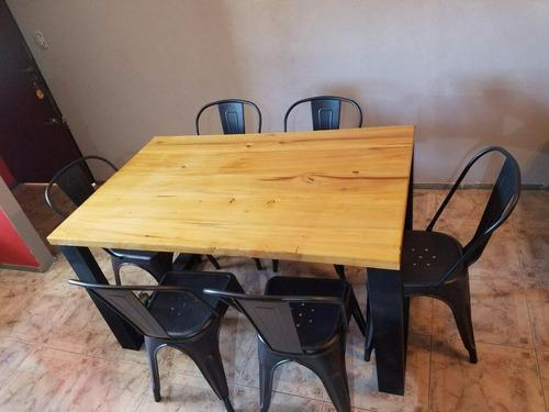 mesa comedor industrial hierro y madera 140 laqueada