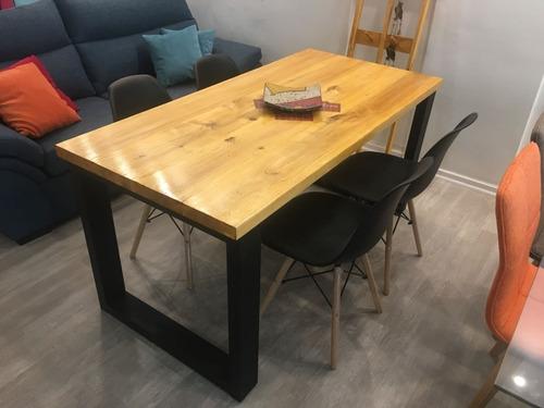 mesa comedor industrial hierro y madera 180 x 80 laqueada