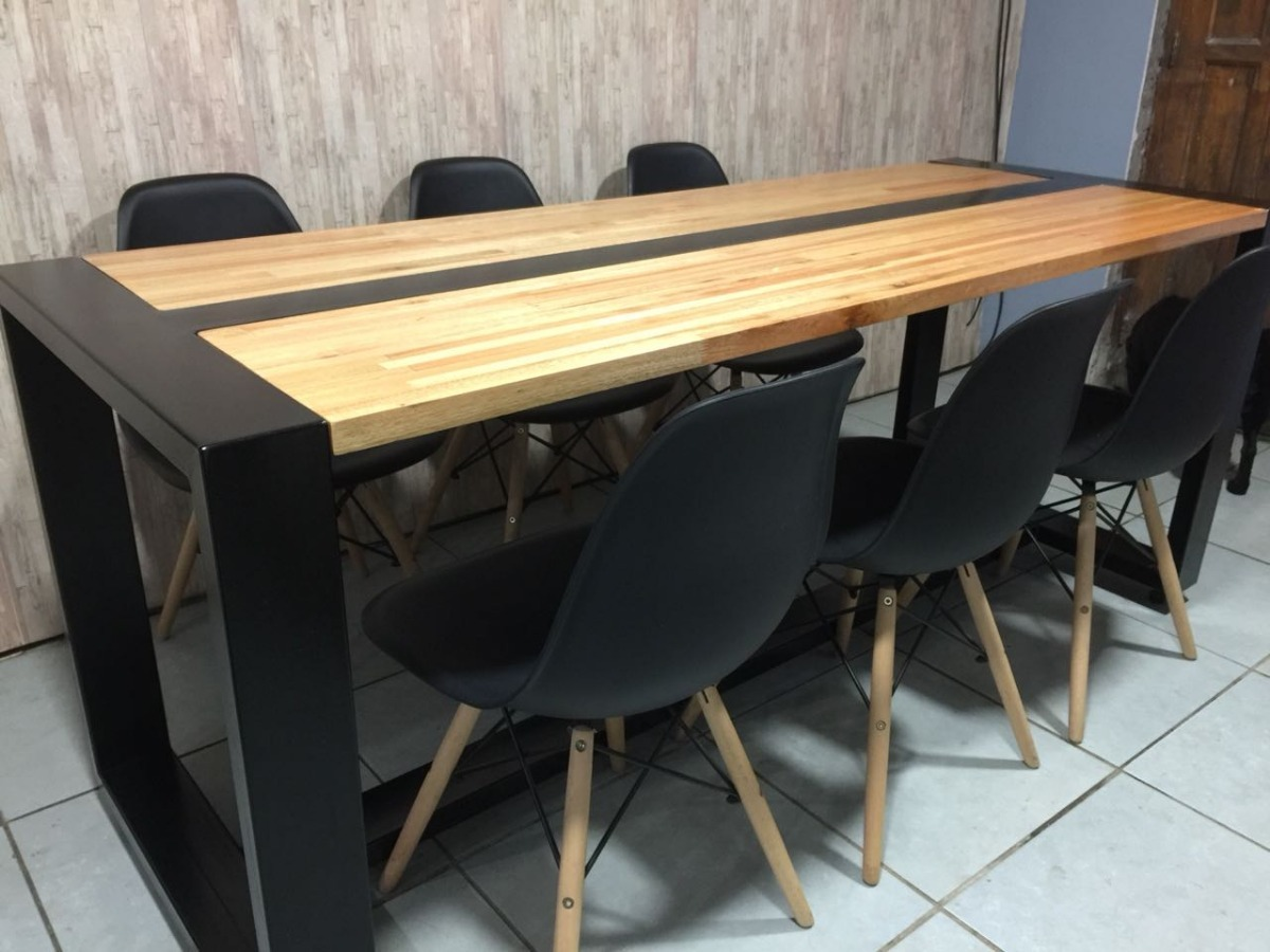 Mesa Comedor Industrial - Hierro Y Madera. - $ 20.900,00 en Mercado ...