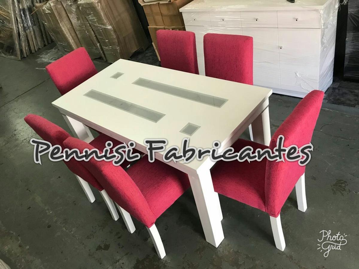 Mesa Comedor Laqueada (160x80cm)+6 Sillas Vestidas Fabrica