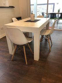 Mesa Comedor Laqueada Madera Blanca Moderna 100 X 70 Cm