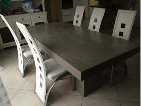 Mesa Comedor Living 8 Personas Moderna Cemento Vaal
