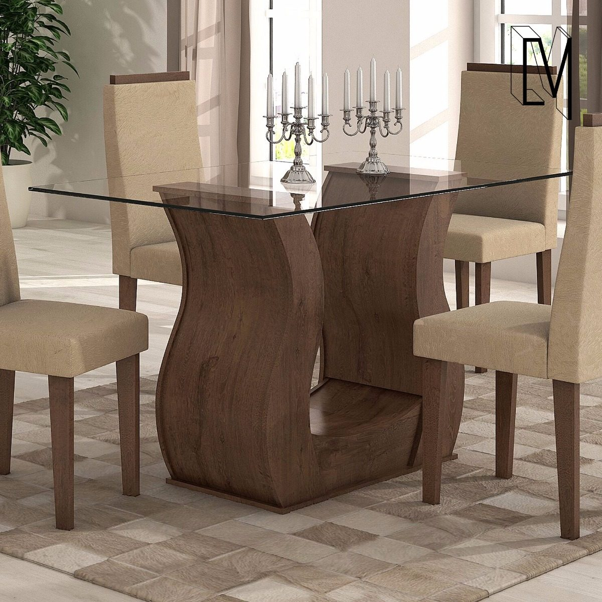 Mesa Comedor Living Madera Tapa De Vidrio Diseño Moderno ! - $ 5.010 ...