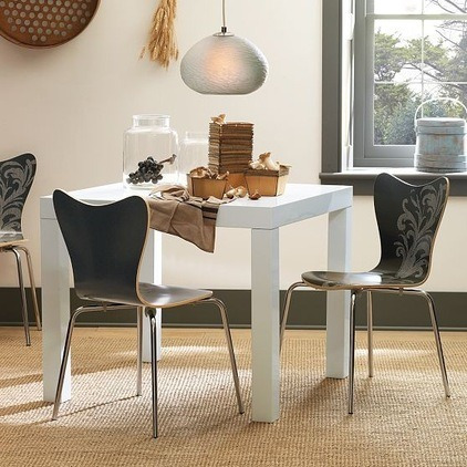 mesa comedor madera cuadrada laqueada cocina moderna 75x75cm