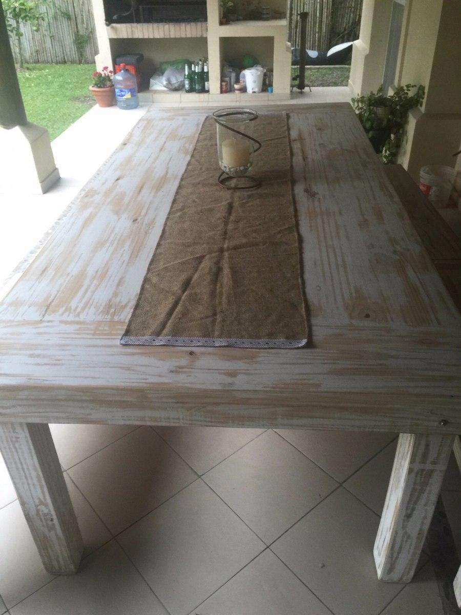 mesa comedor madera maciza patinada y laqueada 300 x 120 cargando zoom - Mesas De Madera Maciza