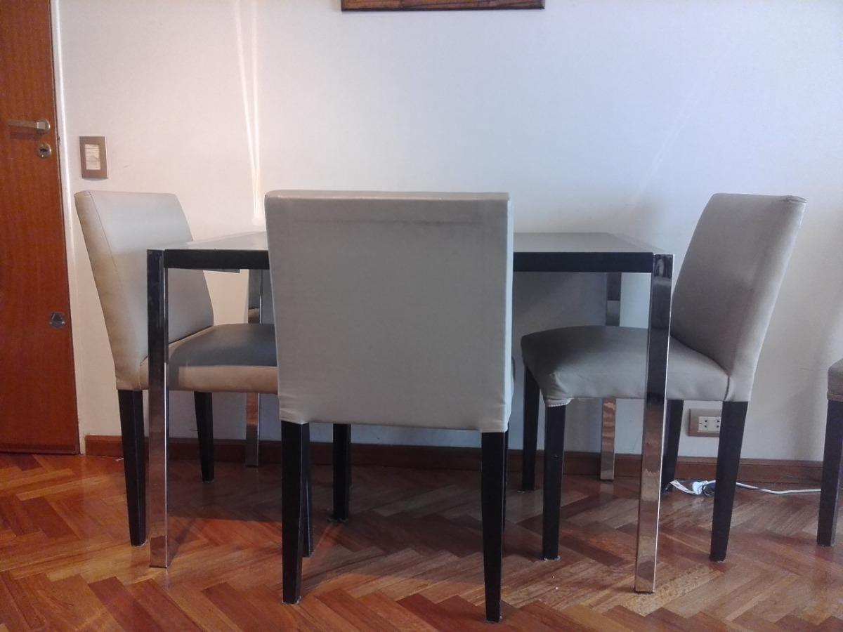 Mesa Comedor Madera Nogal Y Acero. Diseño Italiano - $ 1.500,00