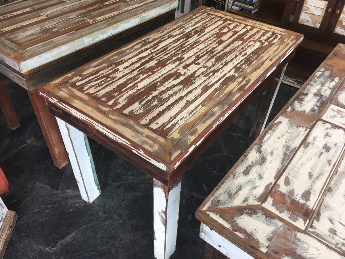 Mesa Comedor Madera Reciclada Pinotea Decape Vintage - $ 6.899,00 en ...