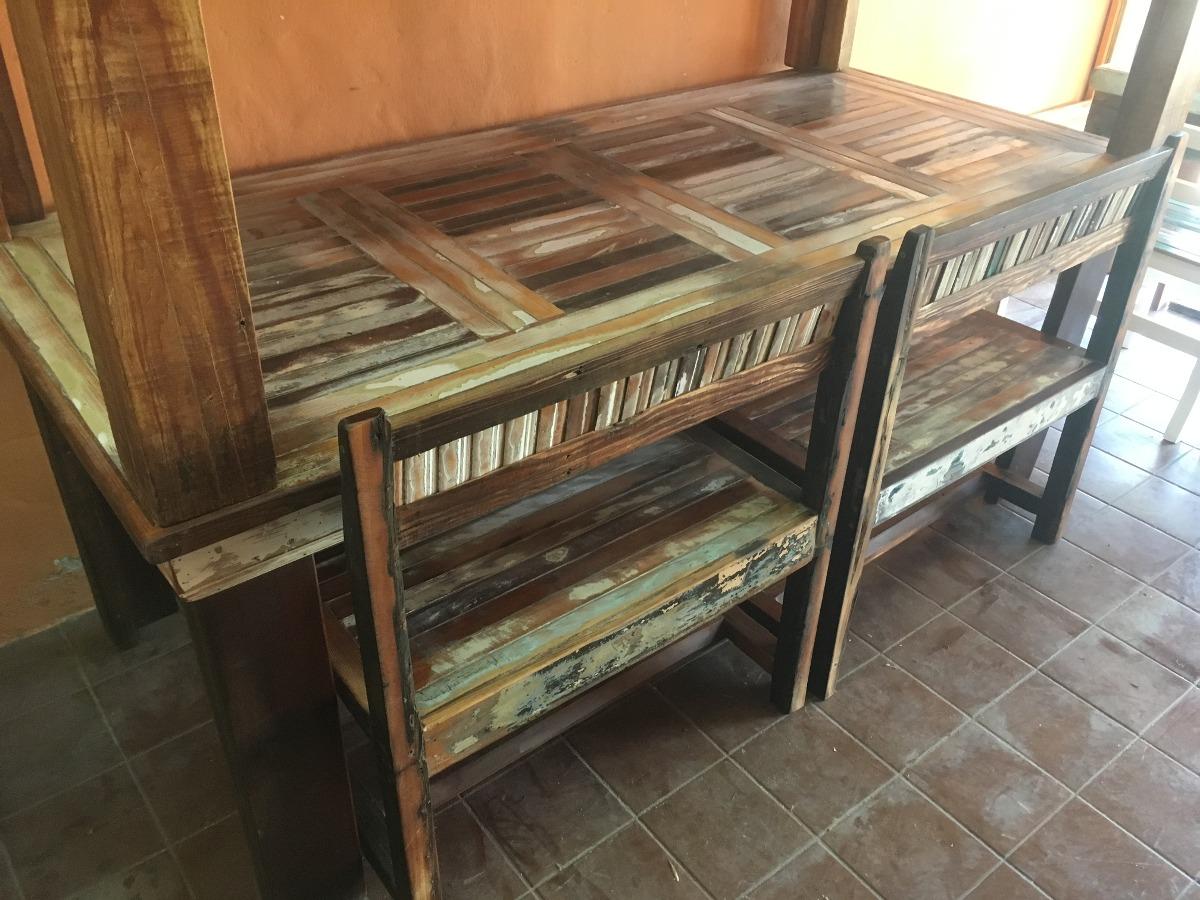 Mesa Comedor Madera Reciclada Vintage Decapada Rustica - $ 13.999,00 ...