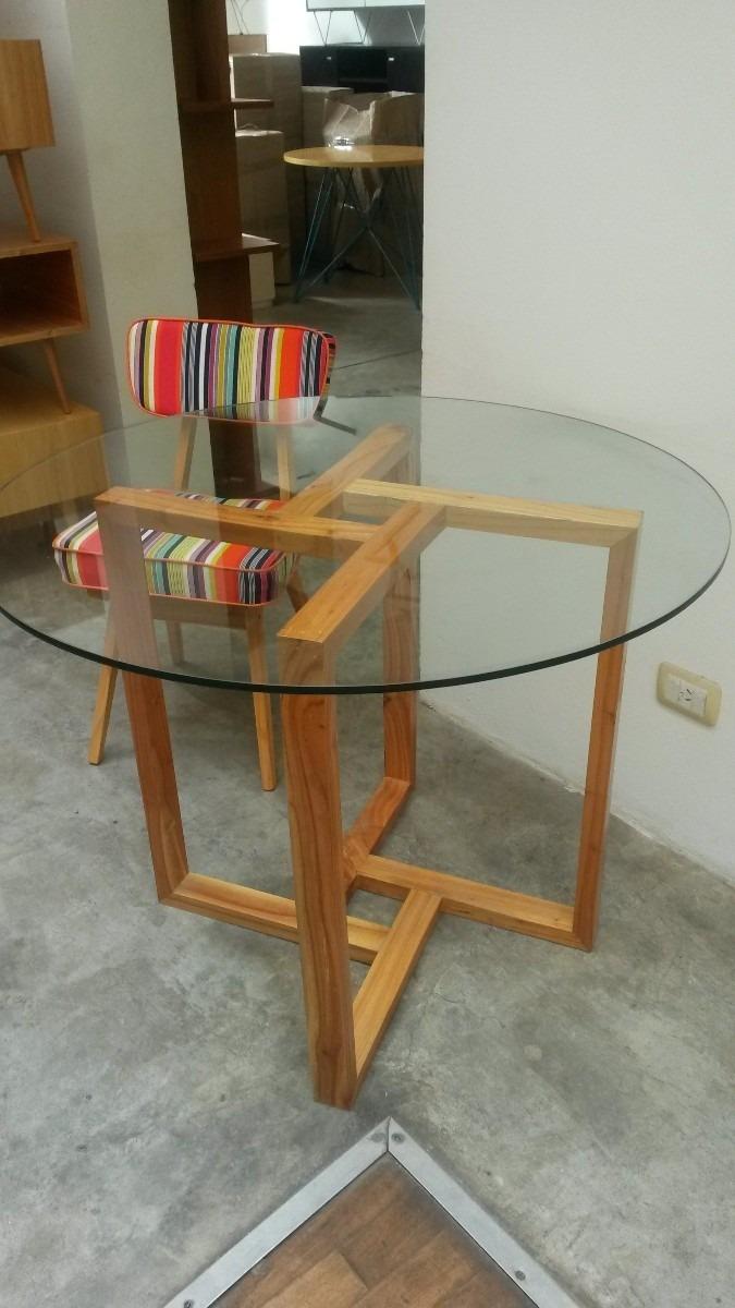 Mesa Comedor Madera Vidrio Hierro Diseño Moderno Mobl Fact A