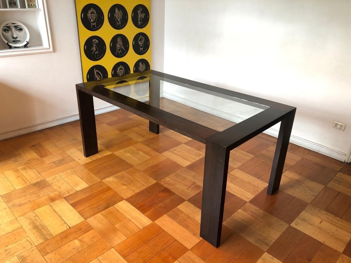Mesa Comedor Madera Y Vidrio, Sin Sillas, Diseño Moderno - $ 85.000