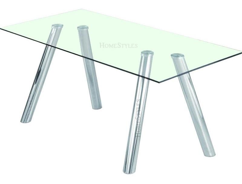 Mesa Comedor Mod. Alanis (200x100) Cristal 12mm Patas Acero