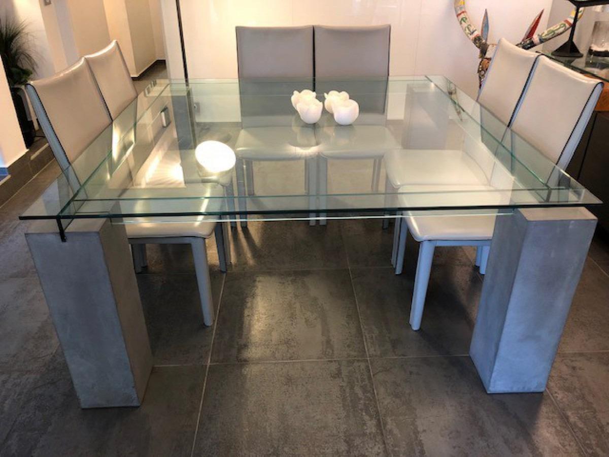 Mesa Comedor Moderna Vidrio Cemento Jubba