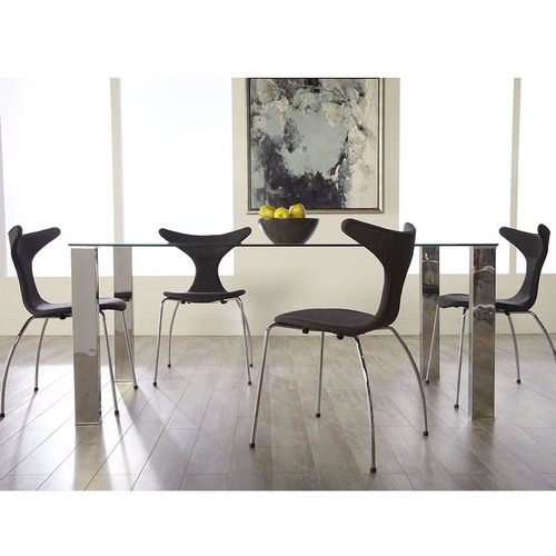 mesa comedor moderna vidrio cromada 1,40x80 | bases rect.