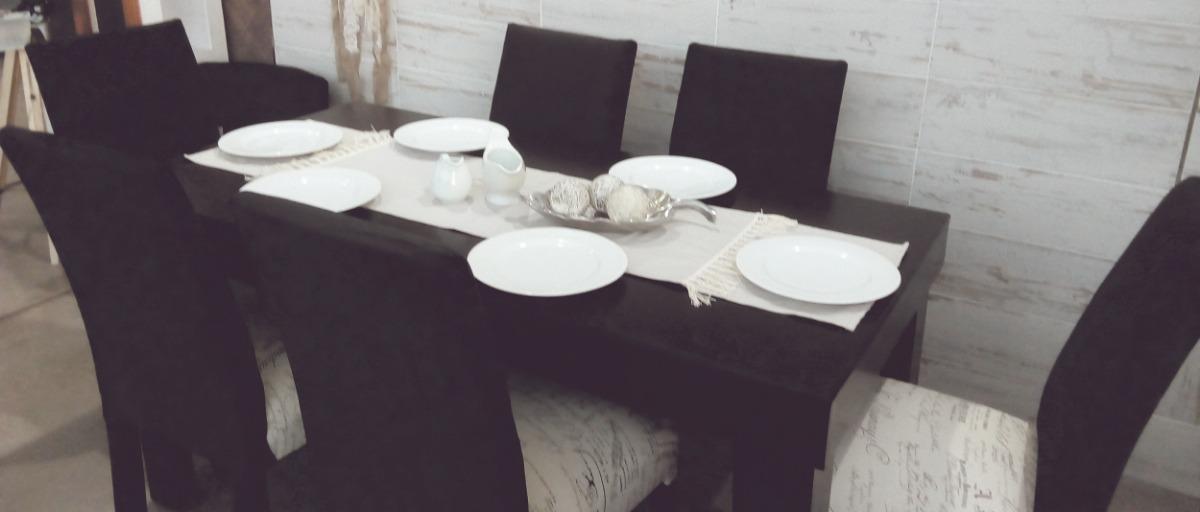 Mesa Comedor Negra (160x80cm) + 6 Sillas - Juego Comedor