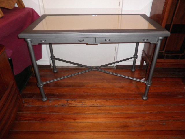 Mesa comedor o escritorio 2 cajones madera y patas hierro for Patas de hierro para mesas