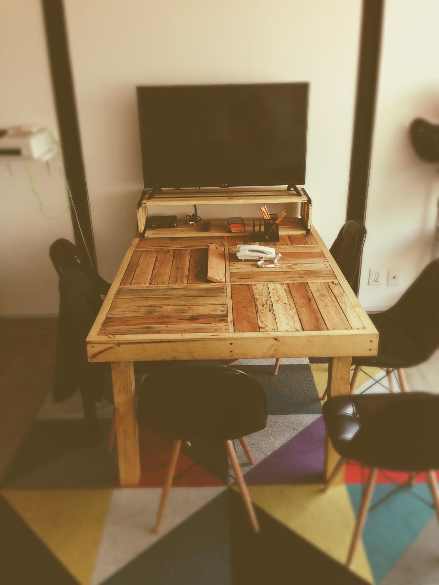 Mesa comedor oficina madera reciclada 4 en for Mesas de comedor rectangulares