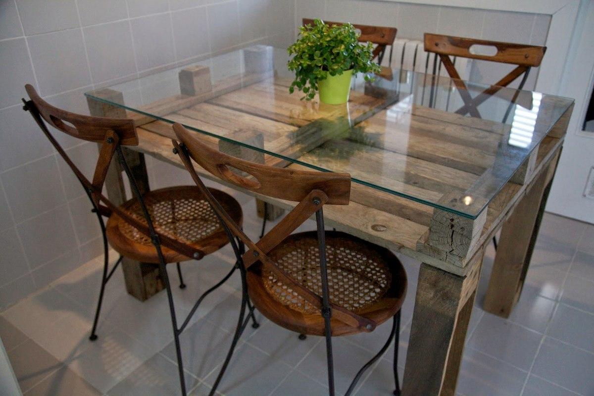 Mesa comedor palet vintage madera reciclada pallets for Muebles con tarimas para cocina