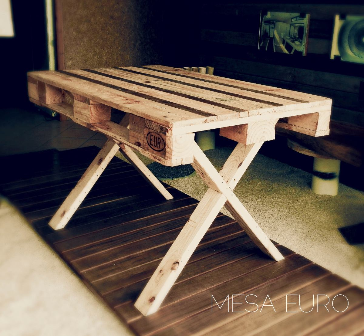 Mesa comedor picnic 4 pers para exterior de madera for Cosas hechas de madera