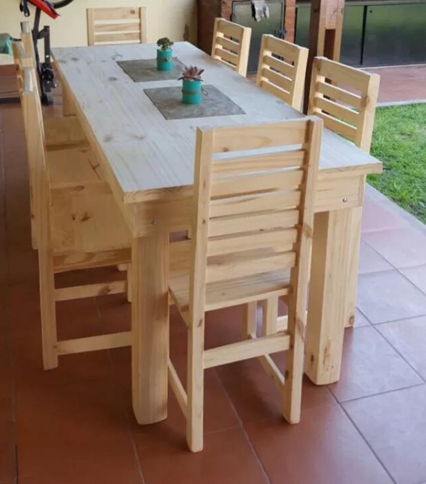 Mesa Comedor Pino Macizo 1,80 X 80 Para Pintar Con 8 Sillas ...