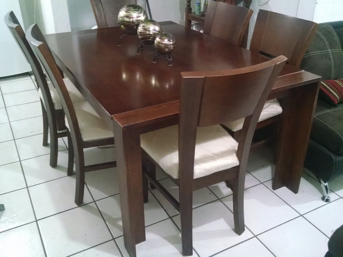 Mesa comedor pino rectangular 6 sillas sears seminuevo for Comedor 6 sillas usado