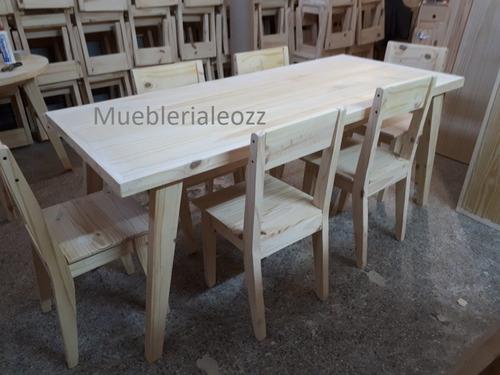 mesa comedor pino vintage 1.60x80 + 6 sillas reforzadas