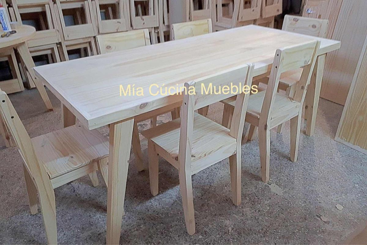 Mesa Comedor Pino Vintage 160x80 + 6 Sillas Retro Oferta - $ 4.900 ...