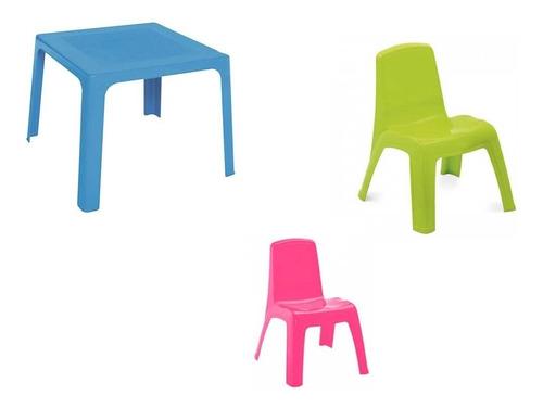 mesa comedor plastico  para niños + 2 sillas rimax