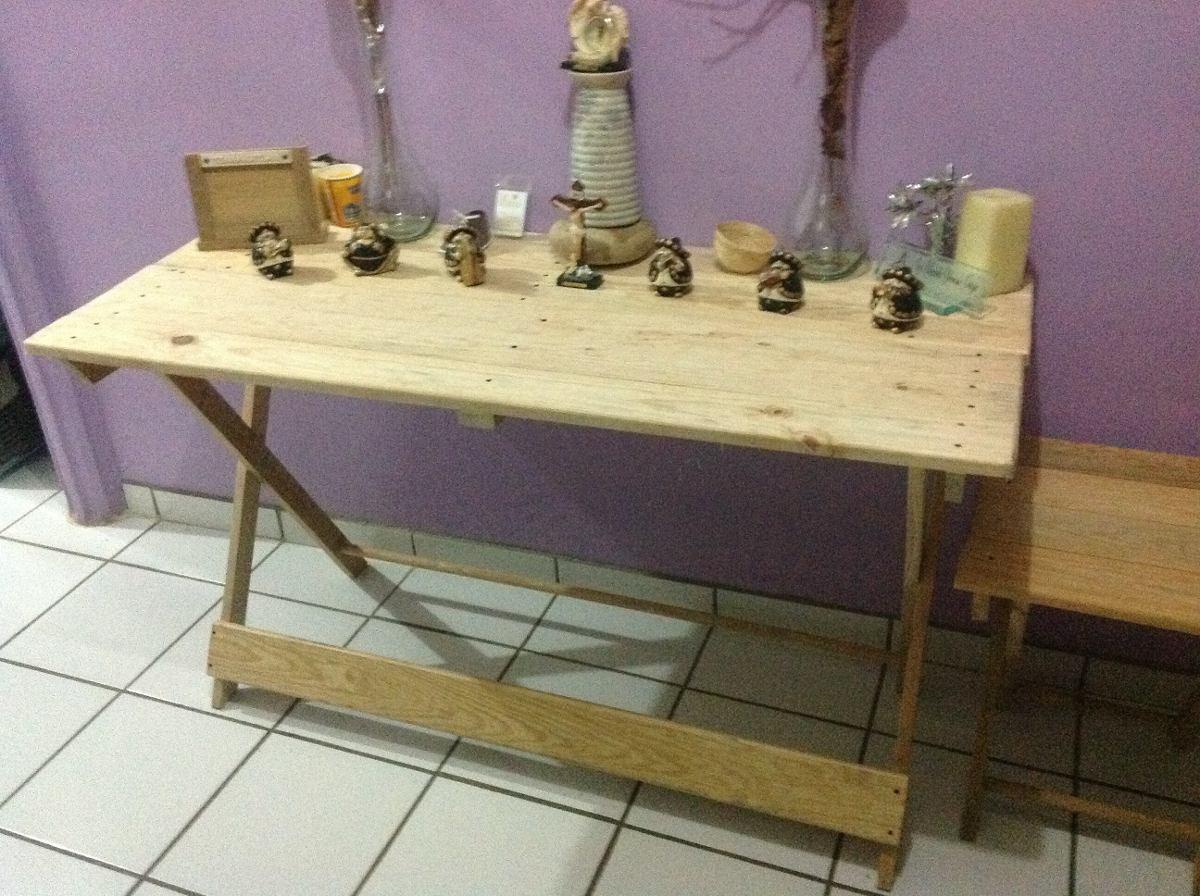 Mesa Comedor Plegable De Madera De Pino.