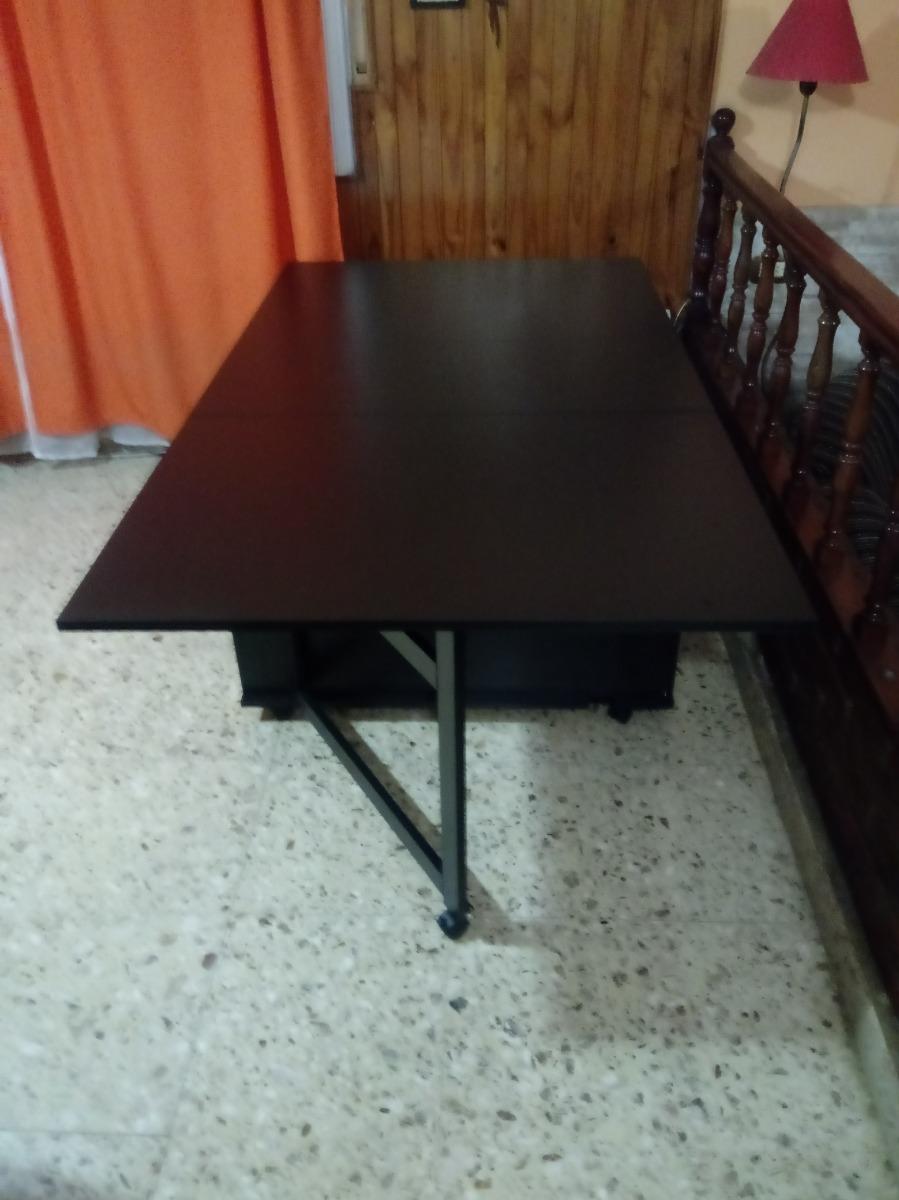Mesa Comedor Plegable Multifunción De Diseño En Melamina