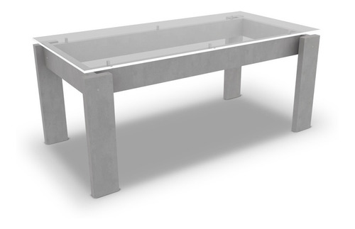 mesa comedor rectangular 180x90 mdf 45mm vidrio vitro+