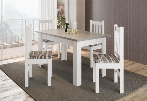 mesa comedor rectangular madera + 4 sillas 28572 / fernapet