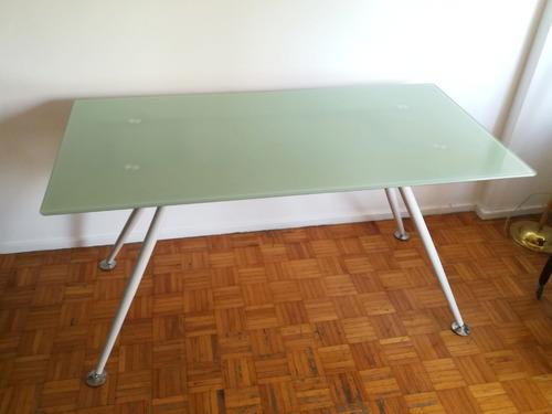 mesa comedor rectangular tipo ikea tapa de vidrio 140x80cm
