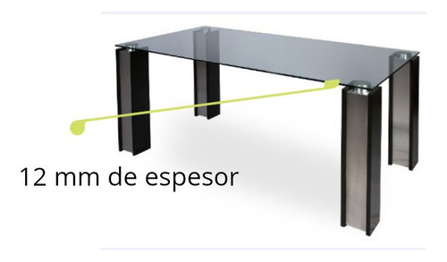 mesa comedor rectangular vidrio 12mm 1.60m para 6 sillas