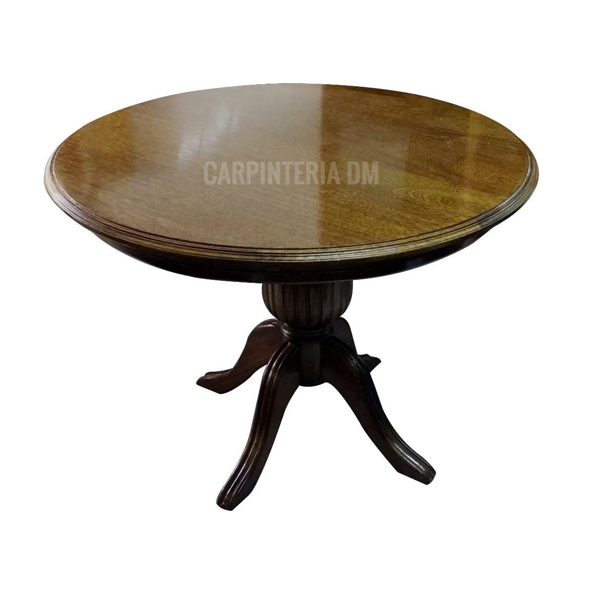 Mesa Comedor Redonda Base Sheraton Roble / Carpinteria Dm - $ 20.504 ...