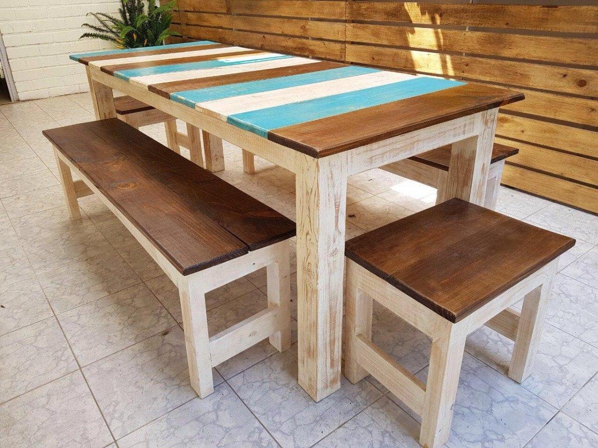 Mesa comedor rustica en mercado libre for Mesas rusticas comedor
