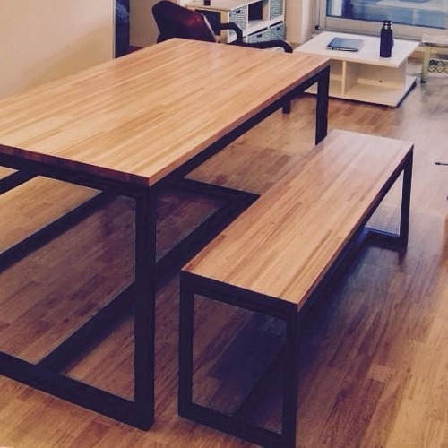 Mesa comedor rustica industrial hierro madera 12 pagos for Mesa comedor madera rustica
