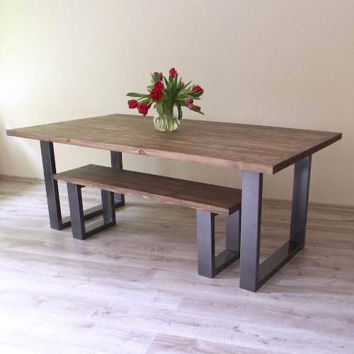 Mesa comedor rustica industrial hierro madera 12 pagos th en mercado libre - Mesa rustica madera ...