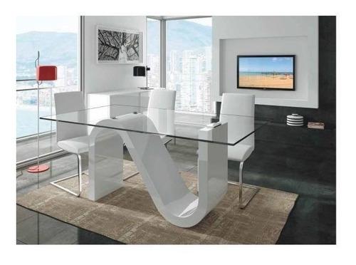 mesa comedor  s  vidrio pegado uv laqueada linea premium