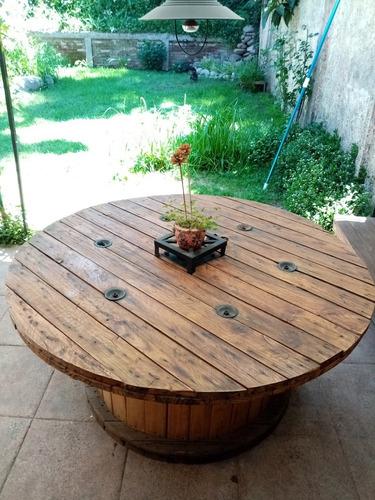 mesa comedor terraza rústica de carrete industrial reciclado