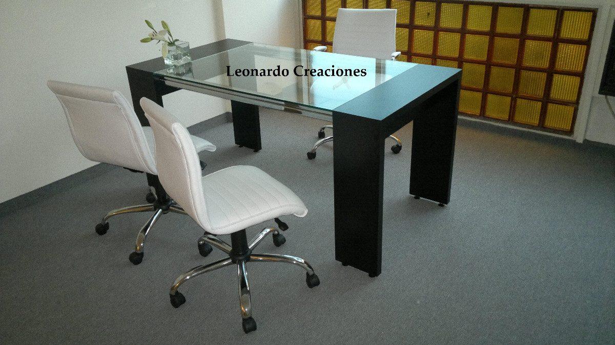 Mesa Comedor, Vidrio, Barrales Cromados, Mdf, Diseño - $ 7.390,00 en ...